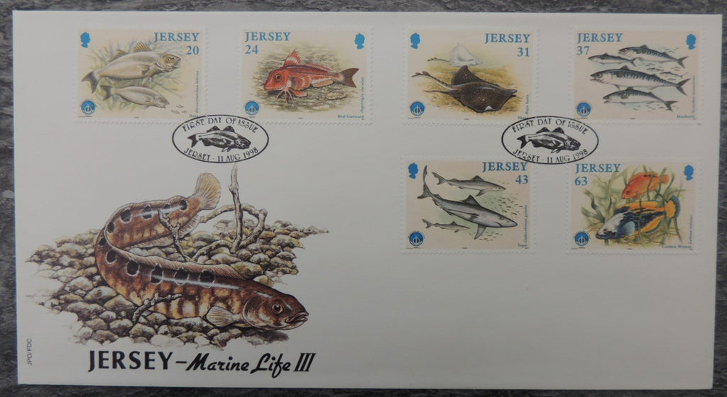 Jersey 1998 Year of Oceans Fishes FDC 6 values