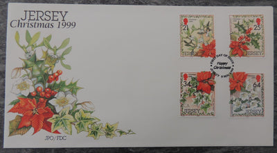 Jersey 1999 Christmas Festive foliage FDC 4 values