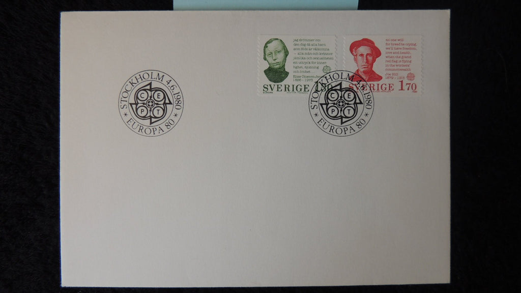 Sweden 1980 FDC europa cept women birth control labour workers
