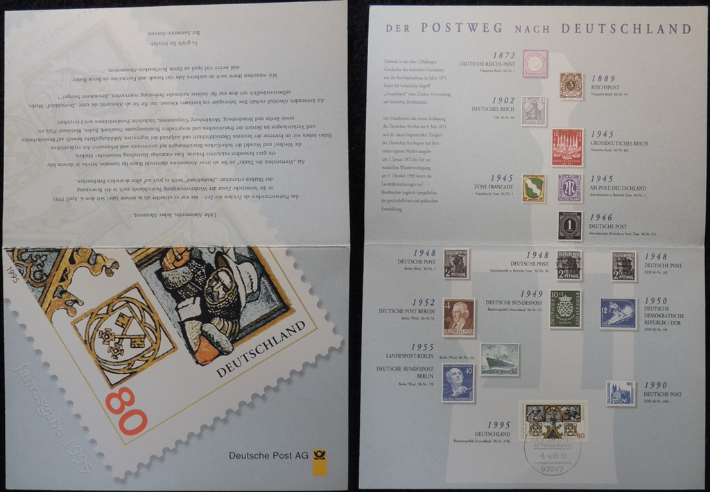 Germany 1995 FDC postal history folder regernsburg 750th anniversary