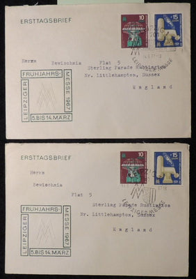 Germany DDR FDC 1967 Leipzig spring fair addressed postal history different postmarks good used