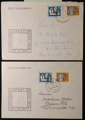 Germany DDR FDC 1967 Leipzig autumn fair addressed postal history different postmarks good used