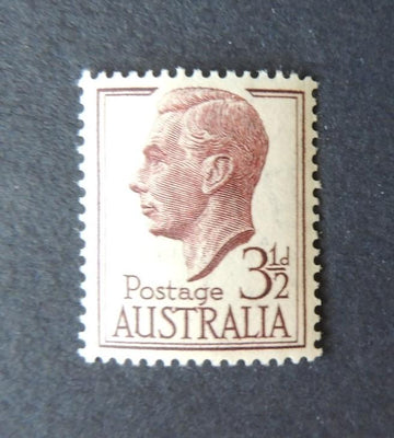 Australia 1951 kgvi kg6 3 1/2d 3.5d purple brown sg247 mnh