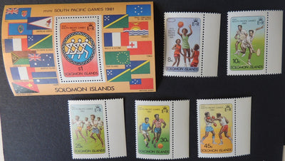Solomon islands 1981 south pacific games set plus MS MNH