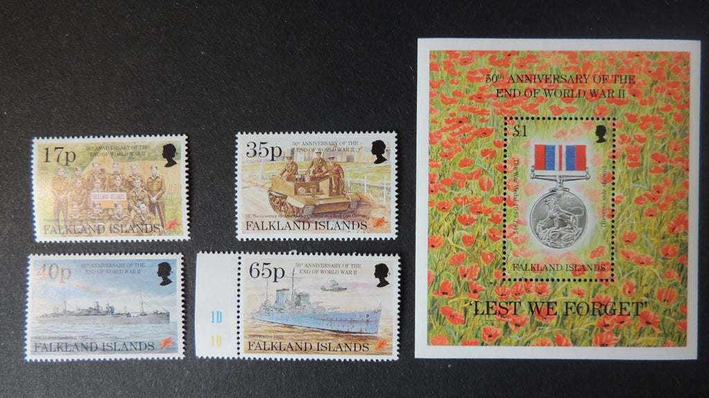 Falkland Islands 50th anniversary end of ww2 set plus medal M/S MNH