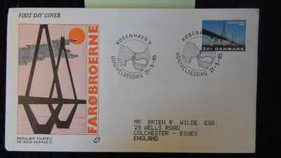 Denmark 1985 FDC opening of the faro bridge fair used