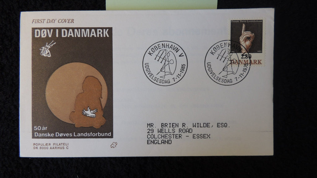 Denmark 1985 FDC organisation hard of hearing disabled fair used
