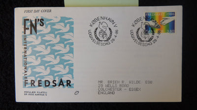 Denmark 1986 FDC international peace year birds doves hands fair used