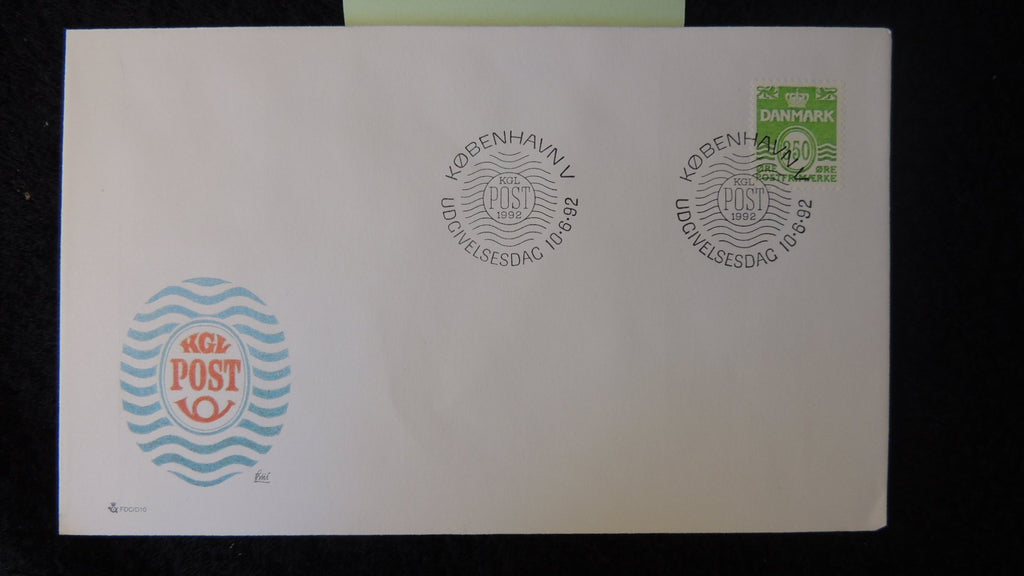 Denmark 1992 FDC wavy lines posthorn good used