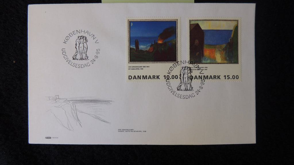 Denmark 1995 FDC art paintings sondergaard lergaard nudes good used