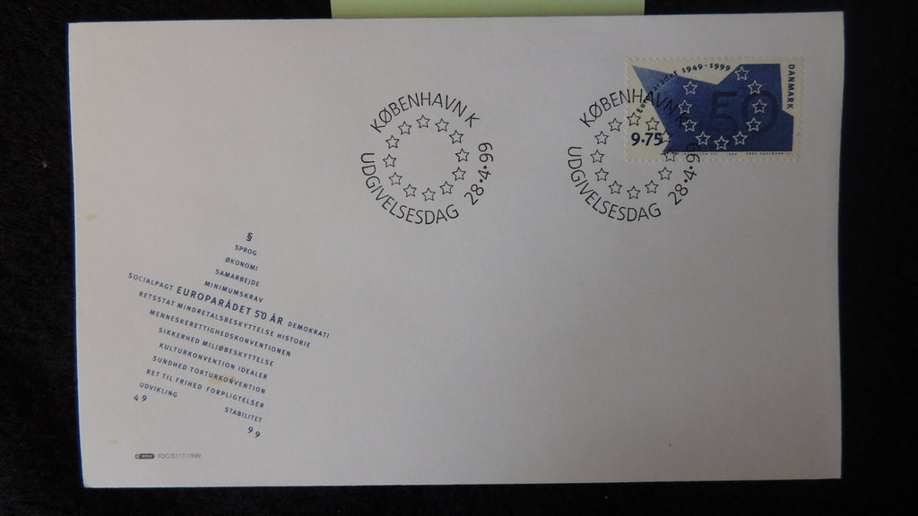 Denmark 1999 FDC 50th anniversary council of europe good used