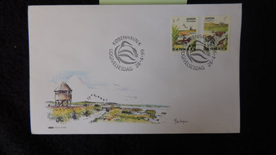 Denmark 1999 FDC europa parks and gardens birds windmill good used