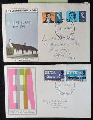 Great Britain GB QEII FDC x2 1966 burns 1967 efta london postmarks average used hence low price