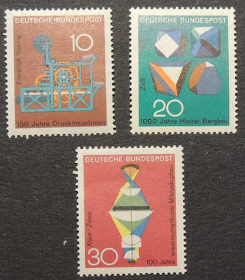 Germany 1968 scientific anniversaries printing machine ore crystals lens reraction MNH