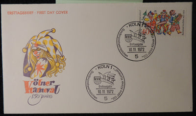 Germany 1972 FDC cologne carnival jester clowns unaddressed good used