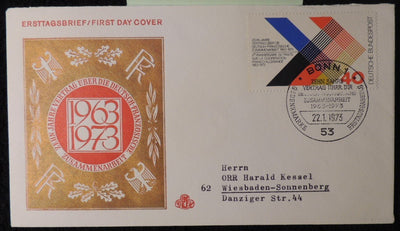 Germany 1973 FDC german french treaty 10 years postal good used