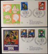 Germany 1974 FDC x2 covers youth welfare activities good used