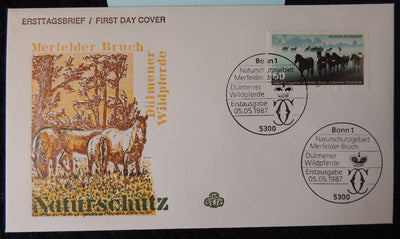Germany 1987 FDC environment protection animals horses good used