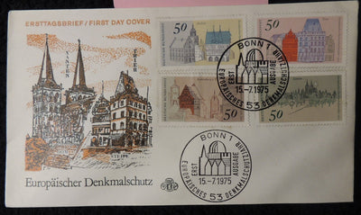 Germany 1975 FDC architectural heritage year buildings bonn pm good used