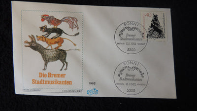 Germany 1982 FDC The Town Band of Bremen (German fairy tale) music animals birds
