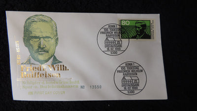 Germany 1988 FDC death centenary friedrich wilhelm raiffeisen finance