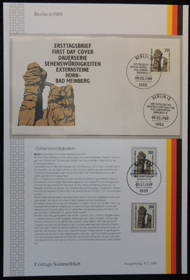 Germany Berlin 1989 FDC sammelblatt collection+MNH attractions horn-bad meinberg rocks superb