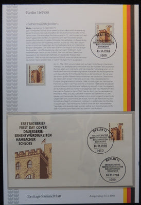 Germany Berlin 1988 FDC sammelblatt collection+MNH attractions hambacher castle superb