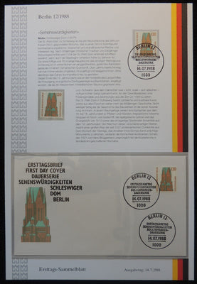Germany Berlin 1988 FDC sammelblatt collection+MNH schleswiger dom churches religion superb