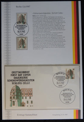 Germany Berlin 1987 FDC sammelblatt collection+MNH celle castle tourism superb