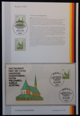 Germany Berlin 1989 FDC sammelblatt collection+MNH wallfahrts-kapelle altotting churches religion superb