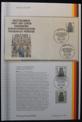 Germany Berlin 1987 FDC sammelblatt collection+MNH freiburg minster religion churches superb