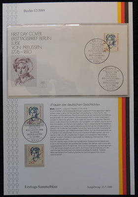 Germany 1990 FDC sammelblatt collection+MNH louise of prussia royalty superb