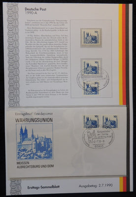 Germany 1990 FDC sammelblatt collection+MNH meissen cathedral and dome religion tourism superb