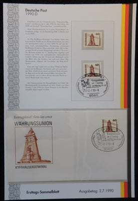 Germany 1990 FDC sammelblatt collection+MNH kyffhauser monument tourism superb