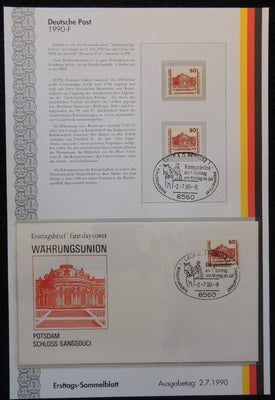 Germany 1990 FDC sammelblatt collection+MNH potsdam castle sanssouci royalty superb