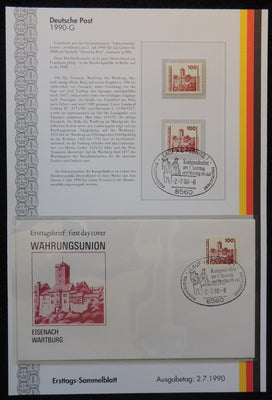 Germany 1990 FDC sammelblatt collection+MNH wartburg eisenach castle tourism superb