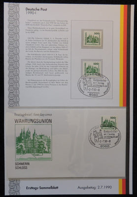 Germany 1990 FDC sammelblatt collection+MNH schwerin castle tourism castle superb