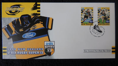 New Zealand 1999 FDC u-bix rugbt super 12 sport hurricanes superb used