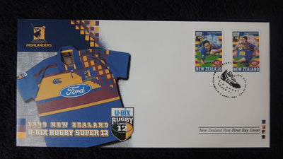New Zealand 1999 FDC u-bix rugbt super 12 sport highlanders superb used