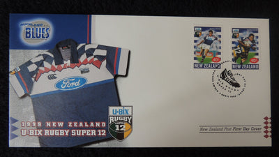 New Zealand 1999 FDC u-bix rugbt super 12 sport blues superb used