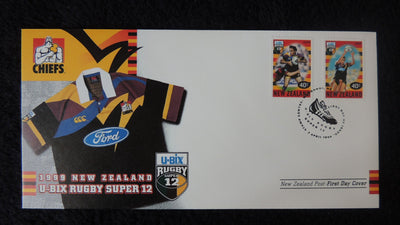 New Zealand 1999 FDC u-bix rugbt super 12 sport chiefs superb used