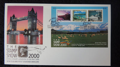 New Zealand 2000 FDC london stamp exhibition tower bridge mountains superb used