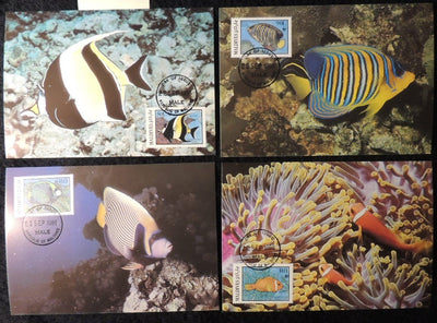 maldive islands 1986 WWF reef fish marine life 4 values maxicard superb used