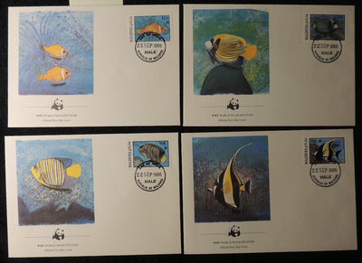 maldive islands 1986 WWF reef fish marine life 4 values FDC superb used
