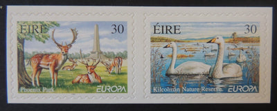 Ireland 1999 europa parks and gardens swans birds deer animals self-adhesive 2v MNH