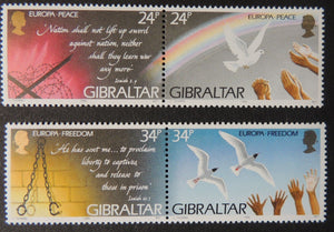 Gibraltar 1995 europa freedom and peace 4 values  birds doves MNH