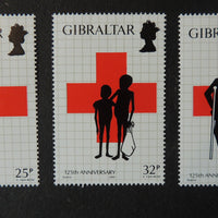 Gibraltar 1989 red cross 3 values MNH