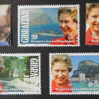 Gibraltar 1992 40th anniversary qeii accession royalty 5 values MNH