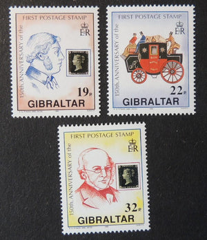 Gibraltar 1990 150th anniversary first postage stamp mail coach penny black 3 values MNH