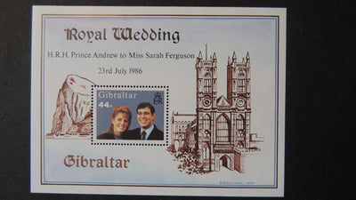 Gibraltar 1986 royal wedding andrew fergie royalty MNH MS
